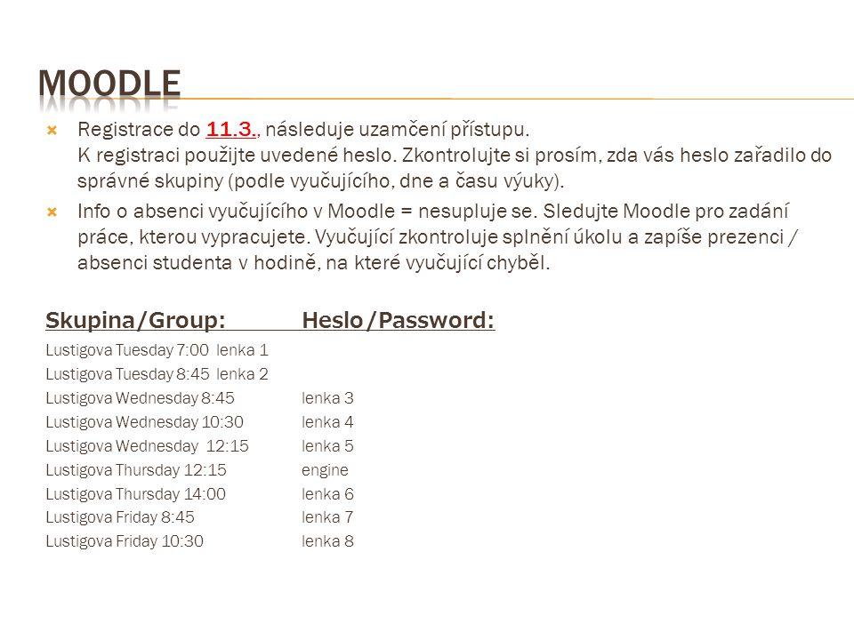  Registrace do 11.3., následuje uzamčení přístupu. K registraci použijte uvedené heslo. Zkontrolujte si prosím, zda vás heslo zařadilo do správné sku