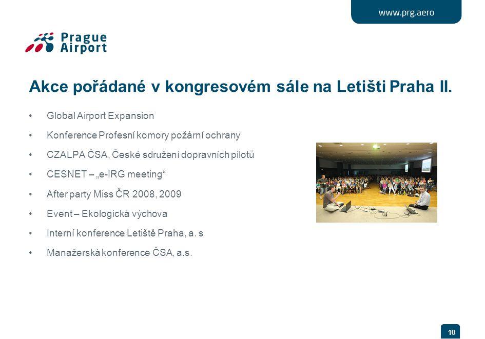 Akce pořádané v kongresovém sále na Letišti Praha II. •Global Airport Expansion •Konference Profesní komory požární ochrany •CZALPA ČSA, České sdružen