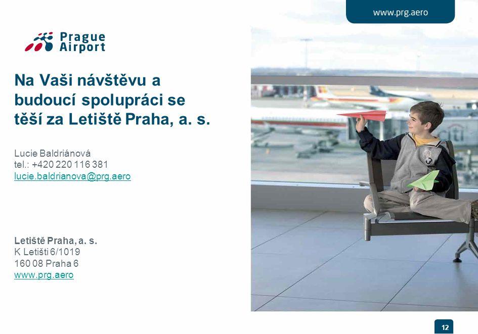 12 Na Vaši návštěvu a budoucí spolupráci se těší za Letiště Praha, a. s. Lucie Baldriánová tel.: +420 220 116 381 lucie.baldrianova@prg.aero Letiště P