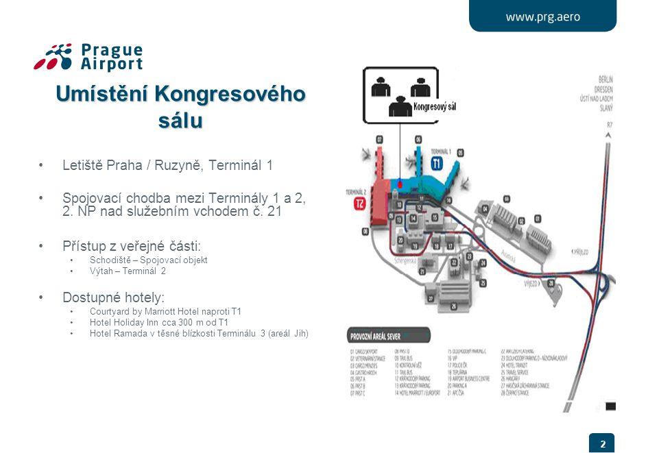 2 Umístění Kongresového sálu •Letiště Praha / Ruzyně, Terminál 1 •Spojovací chodba mezi Terminály 1 a 2, 2. NP nad služebním vchodem č. 21 •Přístup z