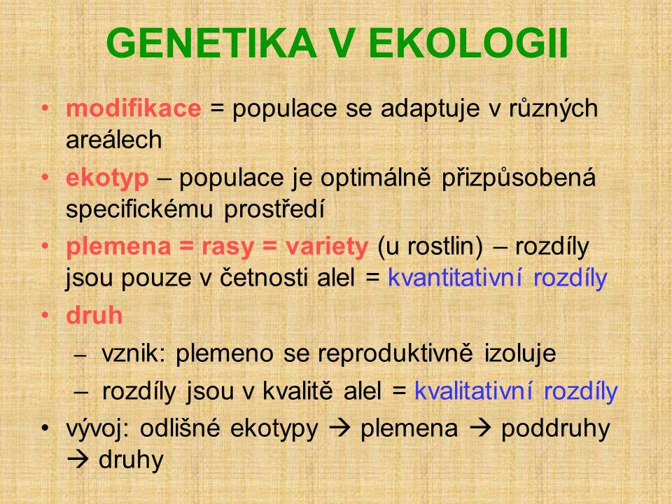 GENETIKA V EKOLOGII •modifikace = populace se adaptuje v různých areálech •ekotyp – populace je optimálně přizpůsobená specifickému prostředí •plemena = rasy = variety (u rostlin) – rozdíly jsou pouze v četnosti alel = kvantitativní rozdíly •druh – vznik: plemeno se reproduktivně izoluje – rozdíly jsou v kvalitě alel = kvalitativní rozdíly •vývoj: odlišné ekotypy  plemena  poddruhy  druhy