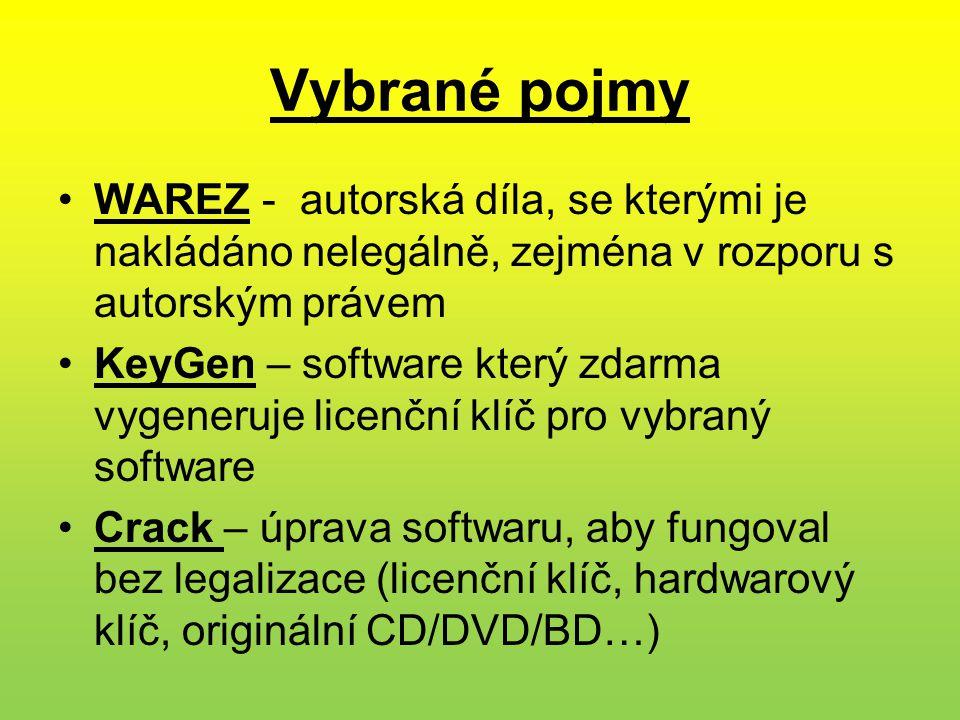 Vybrané pojmy •WAREZ - autorská díla, se kterými je nakládáno nelegálně, zejména v rozporu s autorským právem •KeyGen – software který zdarma vygeneruje licenční klíč pro vybraný software •Crack – úprava softwaru, aby fungoval bez legalizace (licenční klíč, hardwarový klíč, originální CD/DVD/BD…)