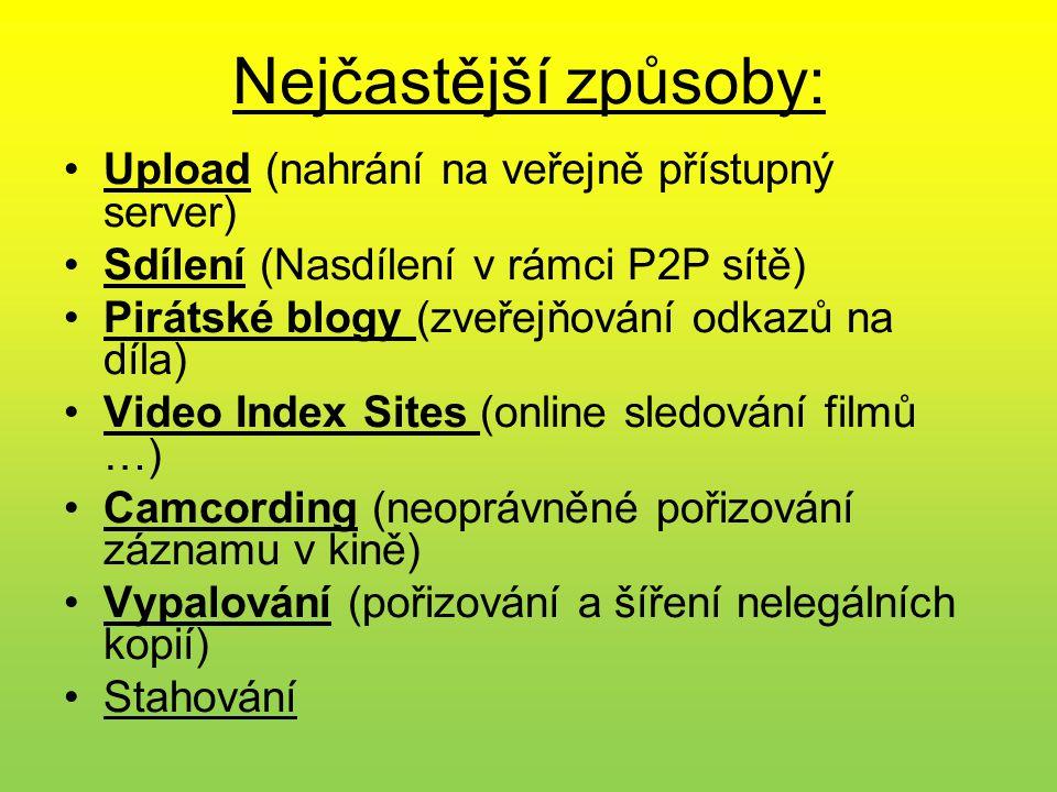 Nejčastější způsoby: •Upload (nahrání na veřejně přístupný server) •Sdílení (Nasdílení v rámci P2P sítě) •Pirátské blogy (zveřejňování odkazů na díla)
