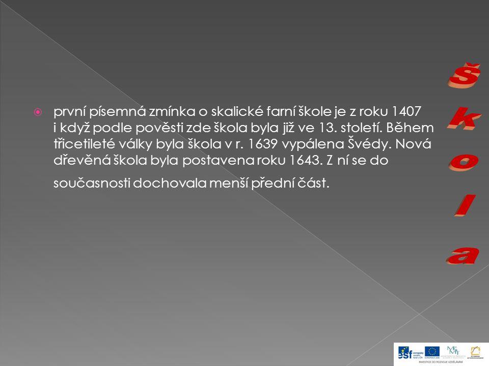  Božena Němcová - největší česká spisovatelka, v České Skalici vychodila školu a později zde měla svatbu  Josef Arnošt Kolisko - učitel, zakladatel první knihovny na Náchodsku (přes něho věnovala B.