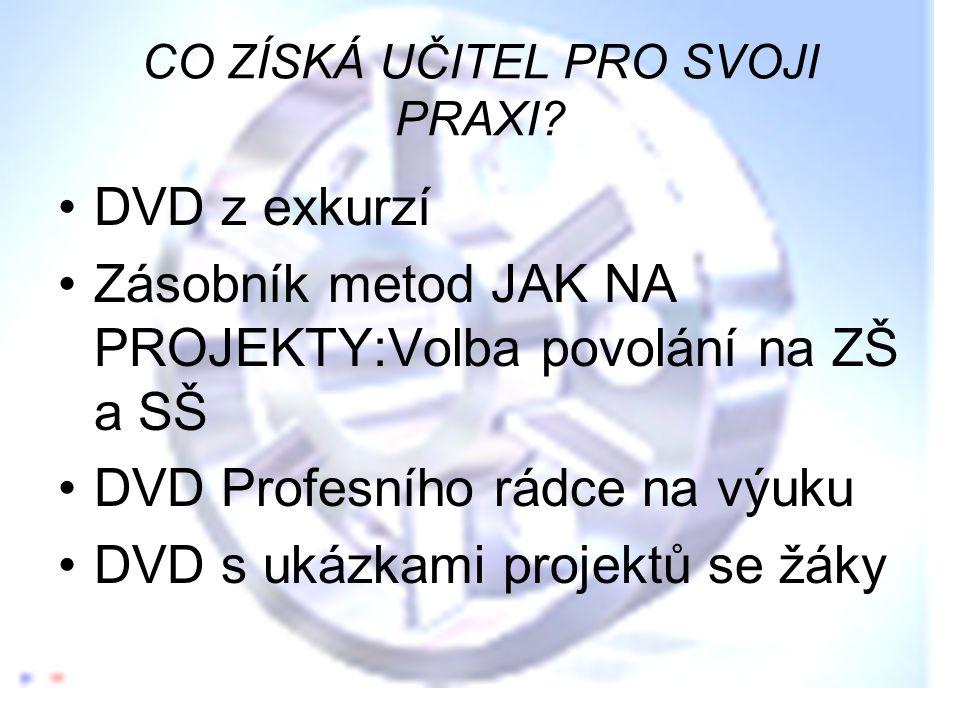 CO ZÍSKÁ UČITEL PRO SVOJI PRAXI? •DVD z exkurzí •Zásobník metod JAK NA PROJEKTY:Volba povolání na ZŠ a SŠ •DVD Profesního rádce na výuku •DVD s ukázka