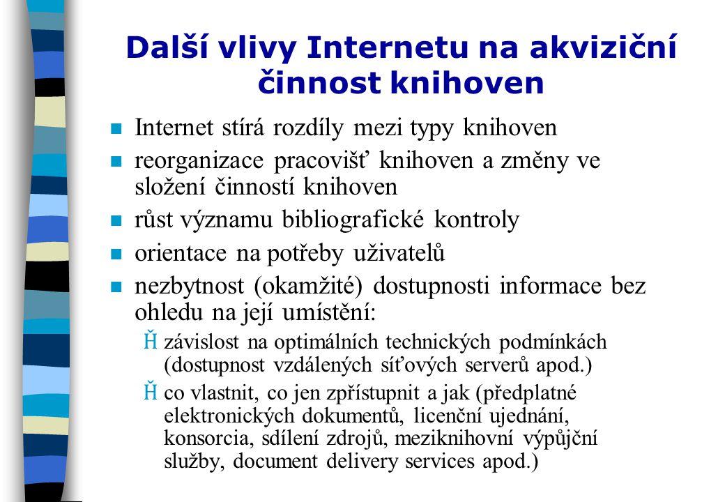 Problémy při využívání síťových zdrojů nonorganizace elektronických zdrojů ninintegrace elektronických zdrojů mezi tradiční zdroje a další elektronické služby knihoven nonomezení v oblasti přístupu k elektronickým zdrojům (licenční politika, intelektuální vlastnictví a copyright) nanarchivace elektronických zdrojů npnproblémy (nejen) s volně dostupnými zdroji: ƮkƮk valita ƮaƮa ktuálnost ƮsƮs tabilita (dynamičnost, distribuovanost, hypermedialita) nezbytnost spolupráce knihoven a podpora státu