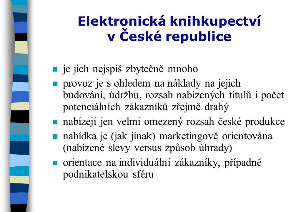 Český Internet a akviziční činnost knihoven nonomezené využití, orientace zatím spíše na individuálního zákazníka (s výjimkami) npnpředevším prostředí pro získávání a ověřování informací o publikovaných dokumentech, ne pro přímou realizaci objednávek (s výjimkou komunikace elektronickou poštou) nonomezený rozsah zdrojů ncnceny dokumentů npnplatby (dobírky, platby šekem nebo bankovním převodem) nespolehlivost, rizika - zatím stále výhodnější přímý nákup