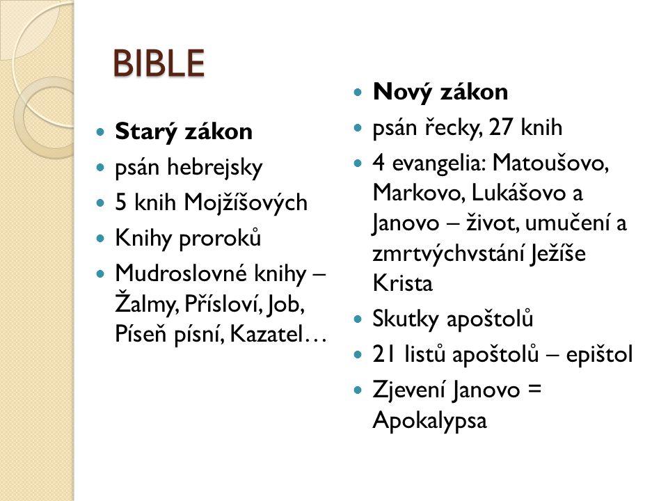 BIBLE  Starý zákon  psán hebrejsky  5 knih Mojžíšových  Knihy proroků  Mudroslovné knihy – Žalmy, Přísloví, Job, Píseň písní, Kazatel…  Nový zák