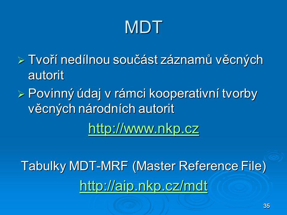 35 MDT  Tvoří nedílnou součást záznamů věcných autorit  Povinný údaj v rámci kooperativní tvorby věcných národních autorit http://www.nkp.cz Tabulky MDT-MRF (Master Reference File) http://aip.nkp.cz/mdt