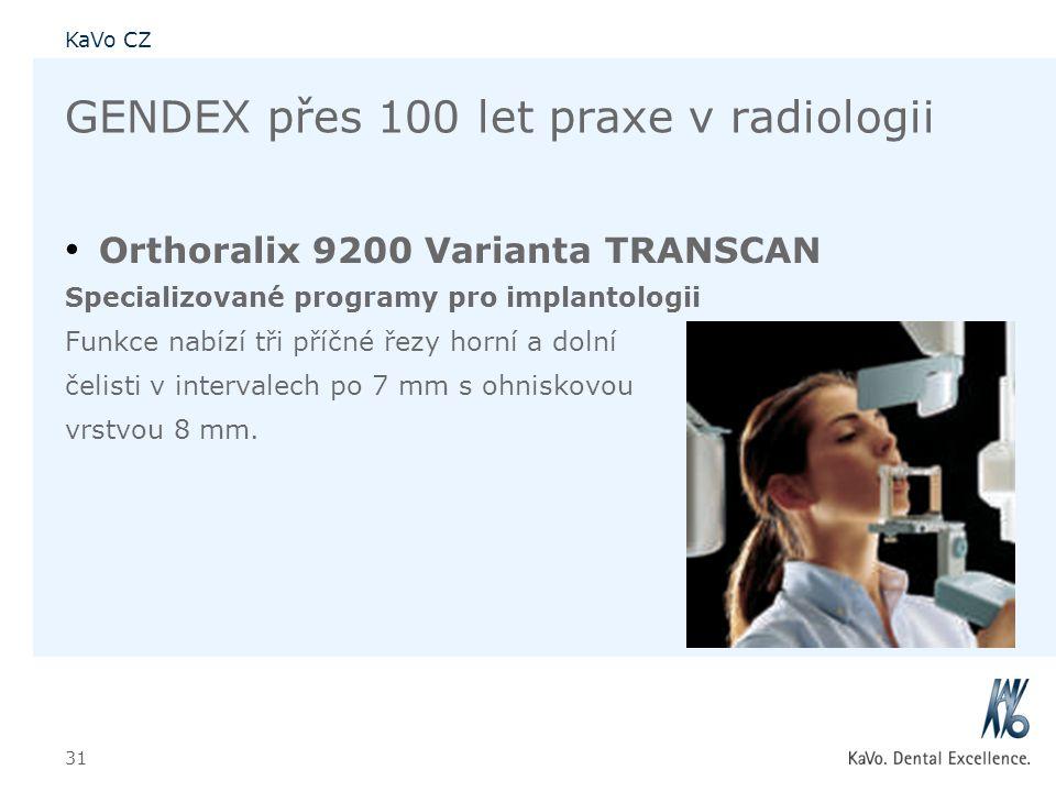 KaVo CZ 31 GENDEX přes 100 let praxe v radiologii • Orthoralix 9200 Varianta TRANSCAN Specializované programy pro implantologii Funkce nabízí tři příč