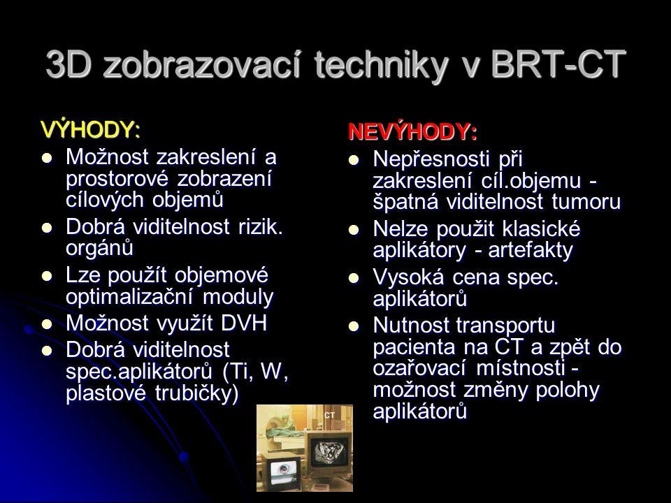3D zobrazovací techniky v BRT-CT VÝHODY:  Možnost zakreslení a prostorové zobrazení cílových objemů  Dobrá viditelnost rizik. orgánů  Lze použít ob
