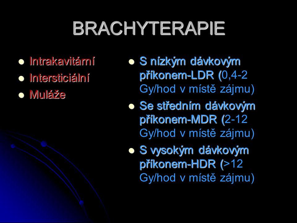 BRACHYTERAPIE  Intrakavitární  Intersticiální  Muláže  S nízkým dávkovým příkonem-LDR (  S nízkým dávkovým příkonem-LDR (0,4-2 Gy/hod v místě záj