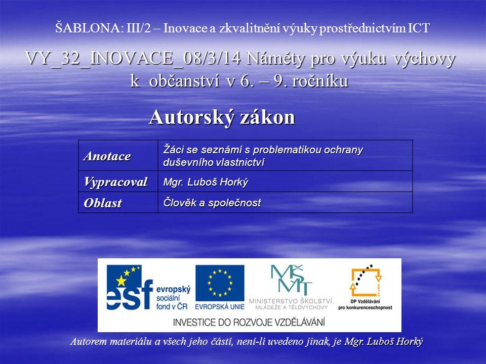 VY_32_INOVACE_08/3/14 Náměty pro výuku výchovy k občanství v 6.