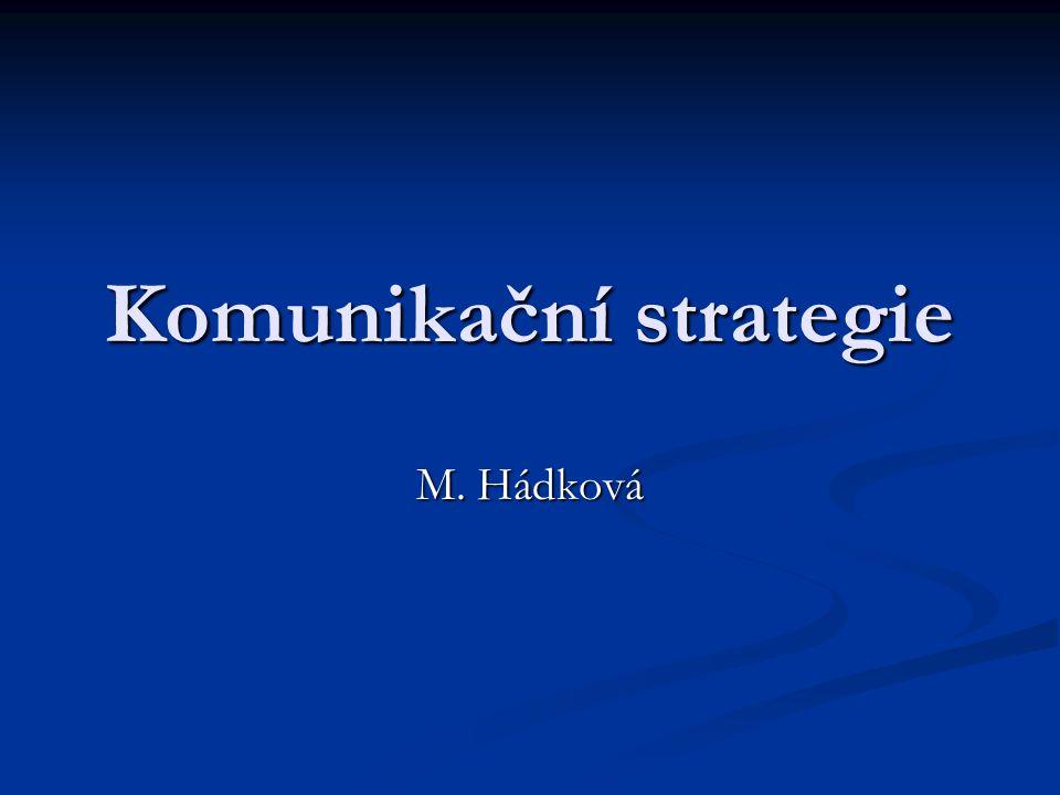 Komunikační strategie základní prvky  obsah zprávy;  kanál zprávy;  okolí (prostředí), ve kterém se komunikace děje;  čas, ve kterém ke komunikaci dochází.