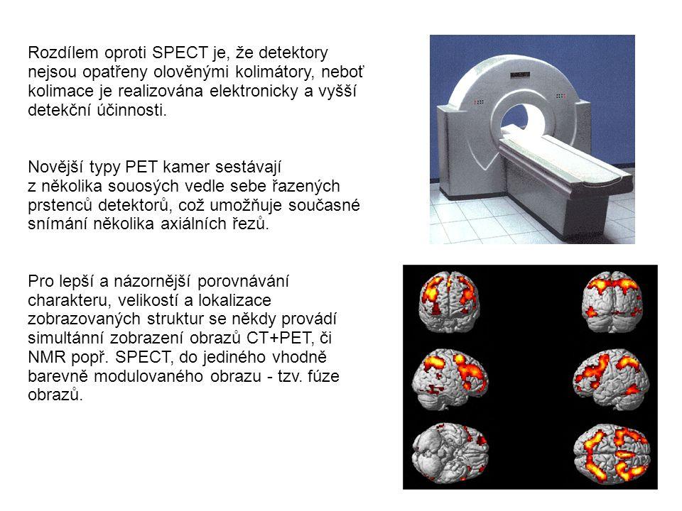 Rozdílem oproti SPECT je, že detektory nejsou opatřeny olověnými kolimátory, neboť kolimace je realizována elektronicky a vyšší detekční účinnosti. No