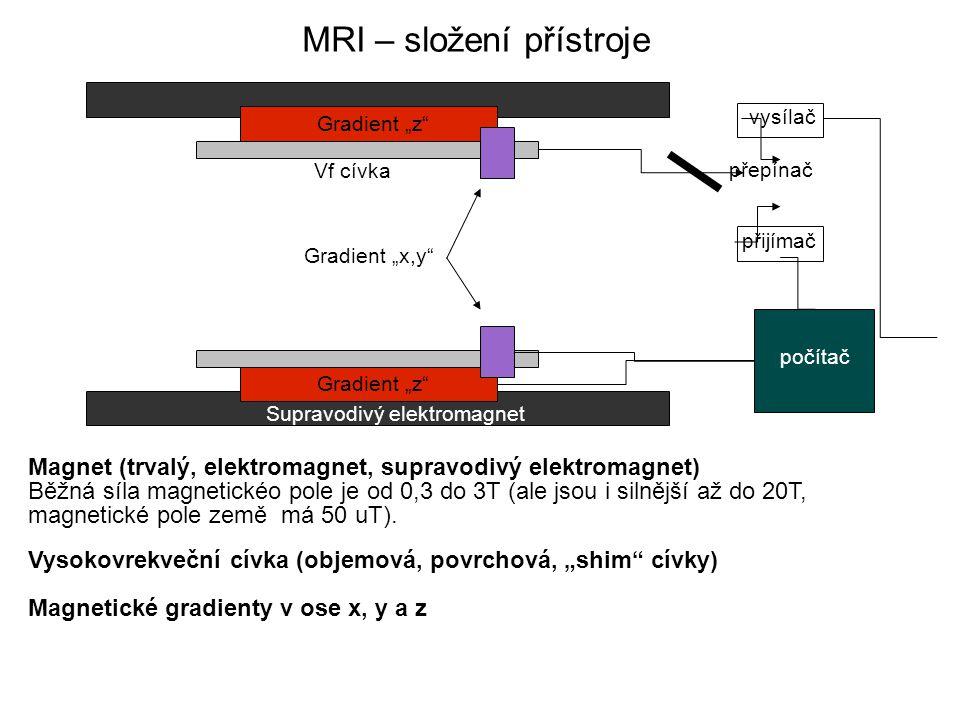 """MRI – složení přístroje Gradient """"z Supravodivý elektromagnet Vf cívka Gradient """"x,y vysílač přijímač přepínač počítač Magnet (trvalý, elektromagnet, supravodivý elektromagnet) Běžná síla magnetickéo pole je od 0,3 do 3T (ale jsou i silnější až do 20T, magnetické pole země má 50 uT)."""