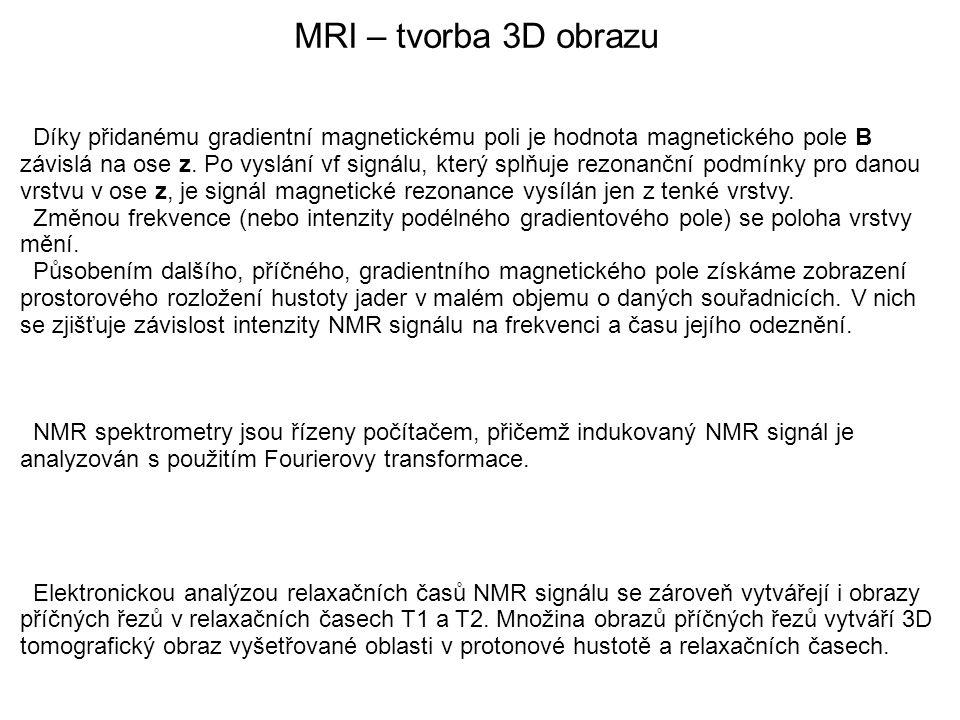 MRI – tvorba 3D obrazu Díky přidanému gradientní magnetickému poli je hodnota magnetického pole B závislá na ose z. Po vyslání vf signálu, který splňu