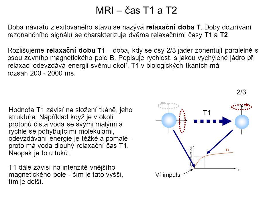 Doba návratu z exitovaného stavu se nazývá relaxační doba T. Doby doznívání rezonančního signálu se charakterizuje dvěma relaxačními časy T1 a T2. Roz