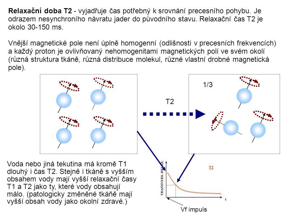 Relaxační doba T2 - vyjadřuje čas potřebný k srovnání precesního pohybu. Je odrazem nesynchroního návratu jader do původního stavu. Relaxační čas T2 j