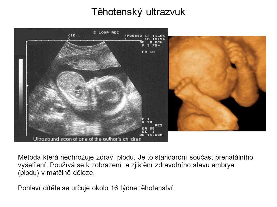 Těhotenský ultrazvuk Metoda která neohrožuje zdraví plodu. Je to standardní součást prenatálního vyšetření. Používá se k zobrazení a zjištění zdravotn