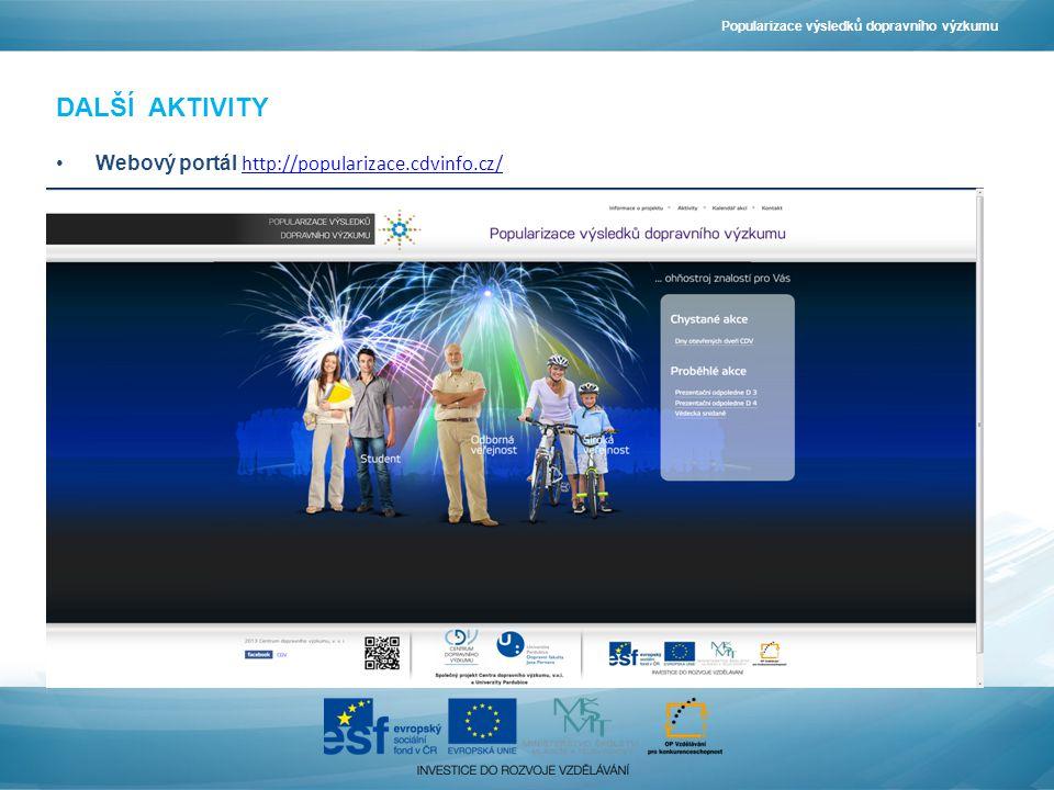 DALŠÍ AKTIVITY •Webový portál http://popularizace.cdvinfo.cz/ http://popularizace.cdvinfo.cz/ Popularizace výsledků dopravního výzkumu
