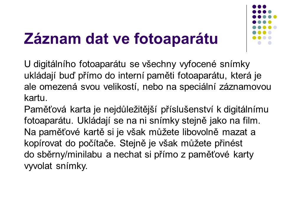 Záznam dat ve fotoaparátu U digitálního fotoaparátu se všechny vyfocené snímky ukládají buď přímo do interní paměti fotoaparátu, která je ale omezená