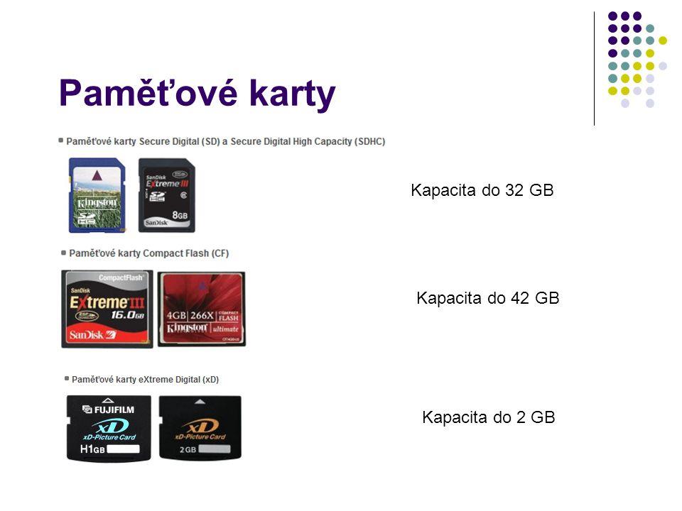Paměťové karty Kapacita do 32 GB Kapacita do 42 GB Kapacita do 2 GB