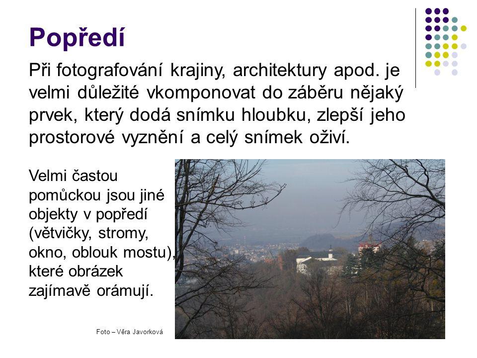 Popředí Velmi častou pomůckou jsou jiné objekty v popředí (větvičky, stromy, okno, oblouk mostu), které obrázek zajímavě orámují. Při fotografování kr