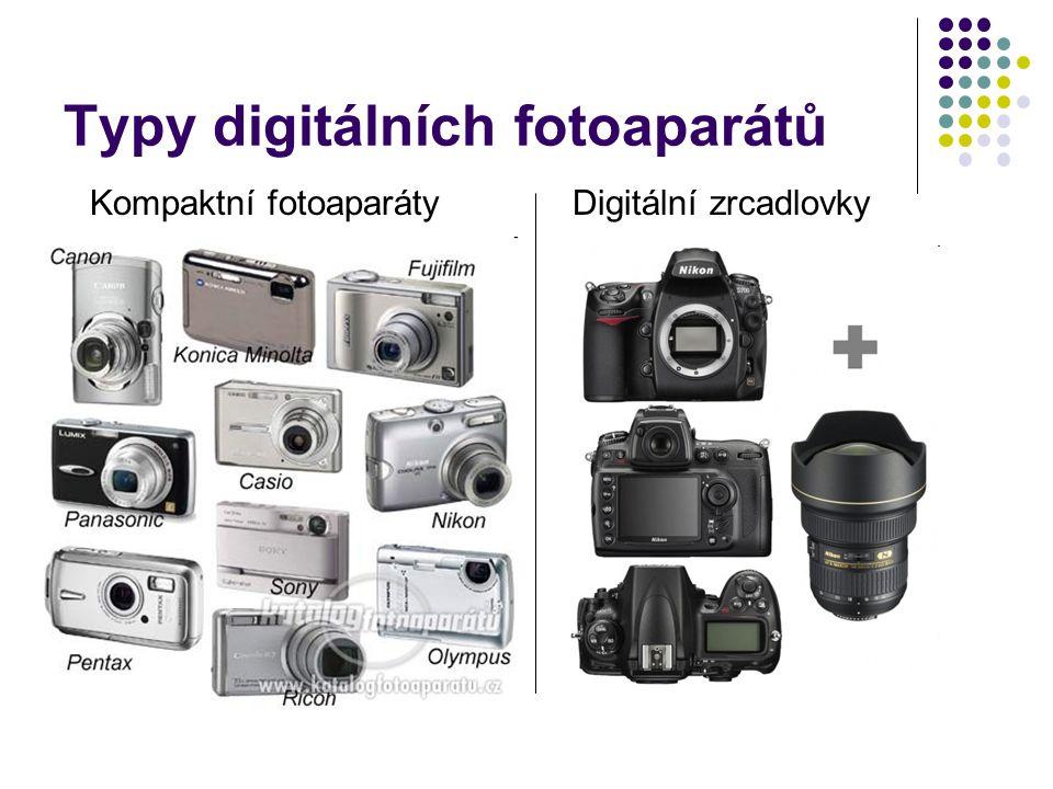 Typy digitálních fotoaparátů Kompaktní fotoaparátyDigitální zrcadlovky