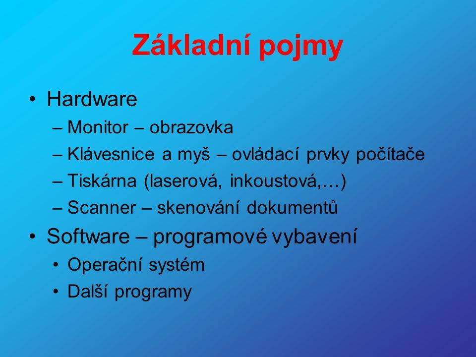 Síť •Server = hlavní počítač, na kterém jsou umístěna všechna data, připojení k internetu,… •Uživatelská stanice = jednotlivý počítač v síti •Uživatelský účet = vlastní prostor uživatele na disku – zabezpečen jménem a heslem