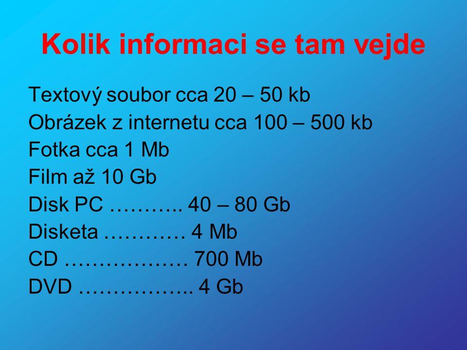 Kolik informaci se tam vejde Textový soubor cca 20 – 50 kb Obrázek z internetu cca 100 – 500 kb Fotka cca 1 Mb Film až 10 Gb Disk PC ……….. 40 – 80 Gb