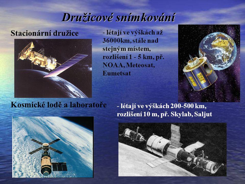 Družicové snímkování Meteorologické a jiné speciální družice - létají ve výškách 600-1200km, doba oběhu 100 min, rozlišení několik m, př.