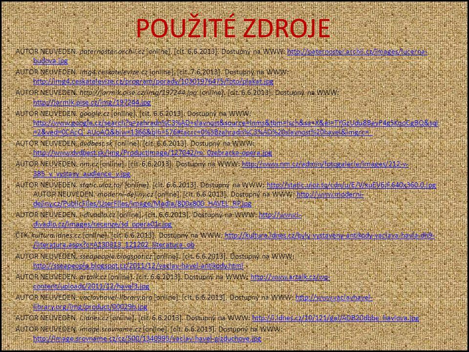 POUŽITÉ ZDROJE AUTOR NEUVEDEN. paternoster.archii.cz [online].