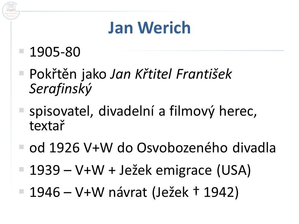 Jan Werich  1905-80  Pokřtěn jako Jan Křtitel František Serafinský  spisovatel, divadelní a filmový herec, textař  od 1926 V+W do Osvobozeného div
