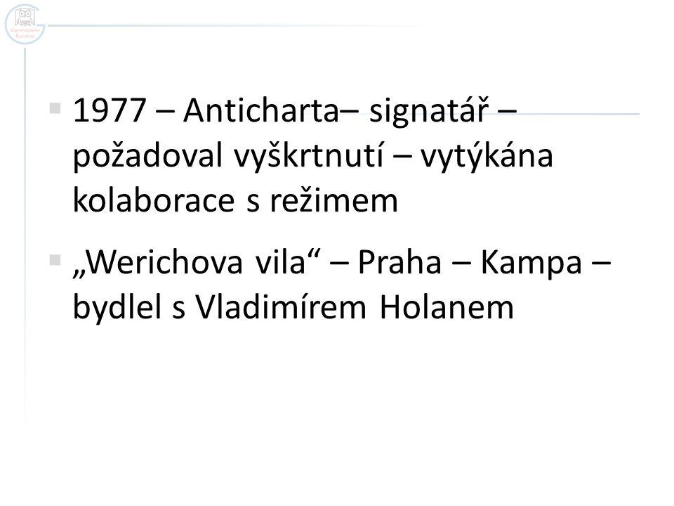 """ 1977 – Anticharta– signatář – požadoval vyškrtnutí – vytýkána kolaborace s režimem  """"Werichova vila"""" – Praha – Kampa – bydlel s Vladimírem Holanem"""