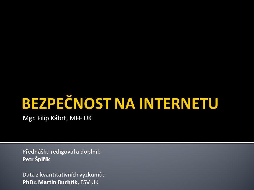 Mgr. Filip Kábrt, MFF UK Přednášku redigoval a doplnil: Petr Špiřík Data z kvantitativních výzkumů: PhDr. Martin Buchtík, FSV UK