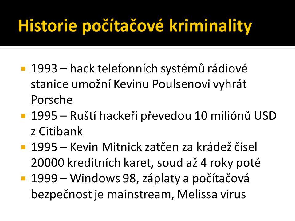  1993 – hack telefonních systémů rádiové stanice umožní Kevinu Poulsenovi vyhrát Porsche  1995 – Ruští hackeři převedou 10 miliónů USD z Citibank  1995 – Kevin Mitnick zatčen za krádež čísel 20000 kreditních karet, soud až 4 roky poté  1999 – Windows 98, záplaty a počítačová bezpečnost je mainstream, Melissa virus