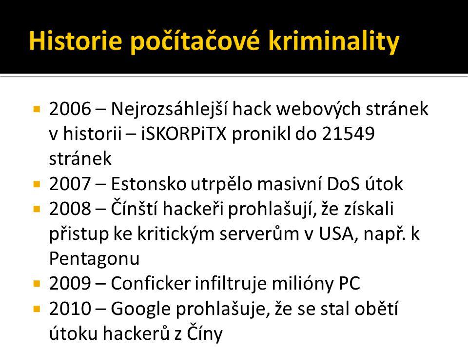  2006 – Nejrozsáhlejší hack webových stránek v historii – iSKORPiTX pronikl do 21549 stránek  2007 – Estonsko utrpělo masivní DoS útok  2008 – Čínští hackeři prohlašují, že získali přistup ke kritickým serverům v USA, např.