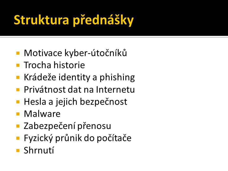  Motivace kyber-útočníků  Trocha historie  Krádeže identity a phishing  Privátnost dat na Internetu  Hesla a jejich bezpečnost  Malware  Zabezpečení přenosu  Fyzický průnik do počítače  Shrnutí
