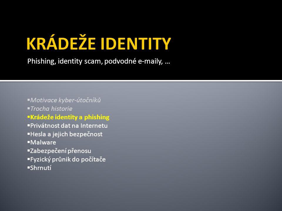 Phishing, identity scam, podvodné e-maily, …  Motivace kyber-útočníků  Trocha historie  Krádeže identity a phishing  Privátnost dat na Internetu  Hesla a jejich bezpečnost  Malware  Zabezpečení přenosu  Fyzický průnik do počítače  Shrnutí