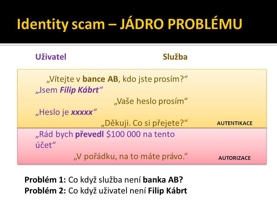 """AUTORIZACE AUTENTIKACE Uživatel """"Jsem Filip Kábrt """"Heslo je xxxxx """"Rád bych převedl $100 000 na tento účet Služba """"Vítejte v bance AB, kdo jste prosím? """"Vaše heslo prosím """"Děkuji."""
