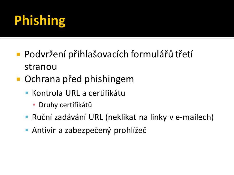  Podvržení přihlašovacích formulářů třetí stranou  Ochrana před phishingem  Kontrola URL a certifikátu ▪ Druhy certifikátů  Ruční zadávání URL (neklikat na linky v e-mailech)  Antivir a zabezpečený prohlížeč