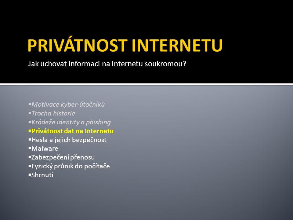 Jak uchovat informaci na Internetu soukromou.