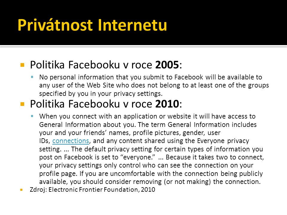  Politika Facebooku v roce 2005:  No personal information that you submit to Facebook will be available to any user of the Web Site who does not bel