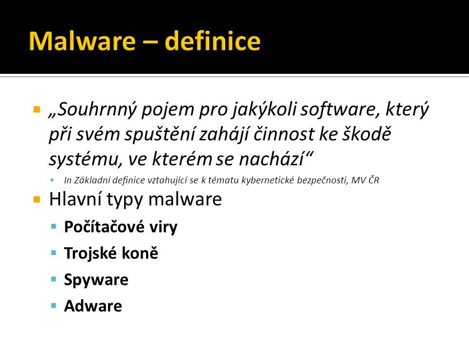 """ """"Souhrnný pojem pro jakýkoli software, který při svém spuštění zahájí činnost ke škodě systému, ve kterém se nachází  In Základní definice vztahující se k tématu kybernetické bezpečnosti, MV ČR  Hlavní typy malware  Počítačové viry  Trojské koně  Spyware  Adware"""