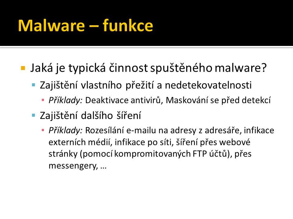  Jaká je typická činnost spuštěného malware.