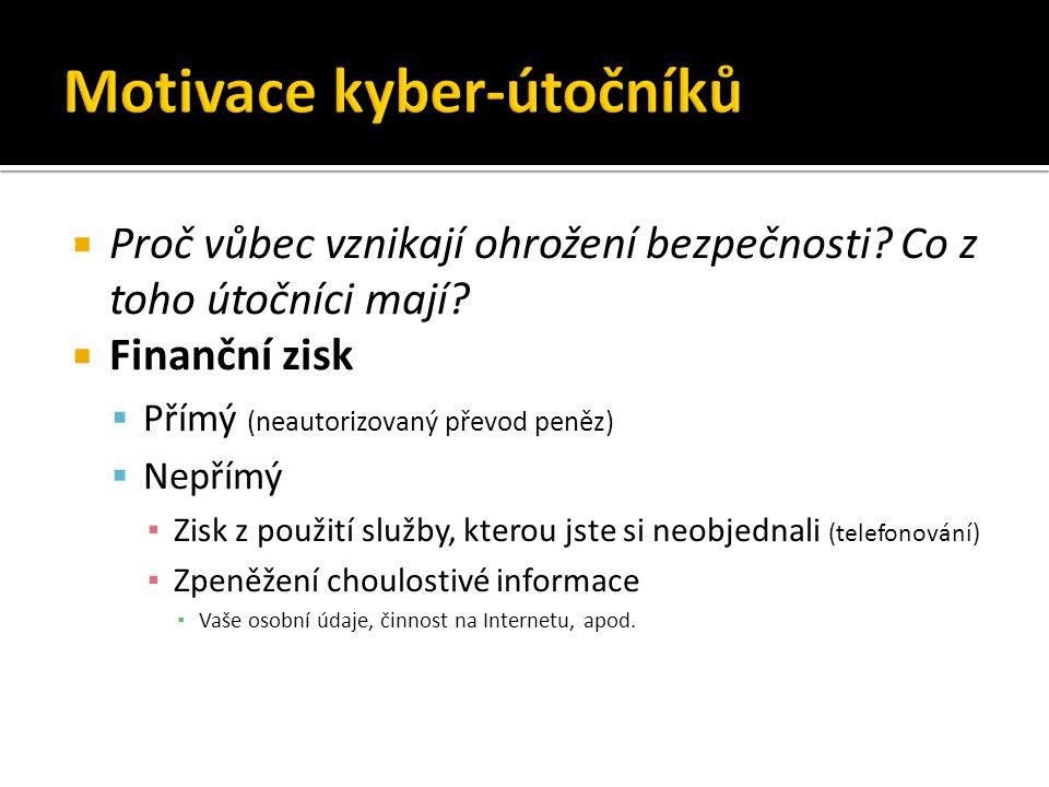 Základní principy z hlediska bezpečnosti  Motivace kyber-útočníků  Trocha historie  Krádeže identity a phishing  Privátnost dat na Internetu  Hesla a jejich bezpečnost  Malware  Zabezpečení přenosu  Fyzický průnik do počítače  Shrnutí
