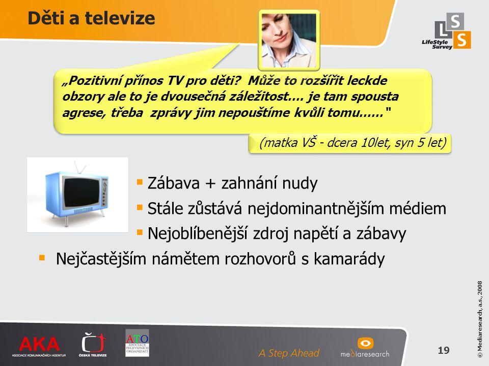 © Mediaresearch, a.s., 2008 19 Děti a televize  Zábava + zahnání nudy  Stále zůstává nejdominantnějším médiem  Nejoblíbenější zdroj napětí a zábavy