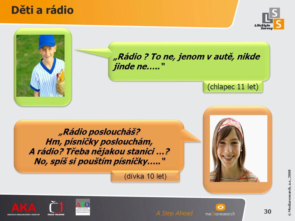 """© Mediaresearch, a.s., 2008 30 """"Rádio posloucháš? Hm, písničky poslouchám, A rádio? Třeba nějakou stanici …? No, spíš si pouštím písničky….."""" """"Rádio p"""