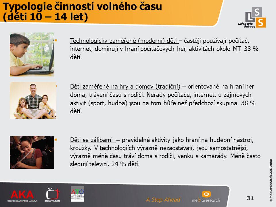 © Mediaresearch, a.s., 2008 31 © Mediaresearch, a.s., 2008 31 Typologie činností volného času (děti 10 – 14 let)  Technologicky zaměřené (moderní) dě